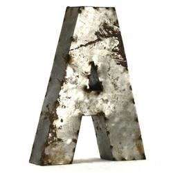 "Industrial Rustic Metal Small Letter A 18""H 