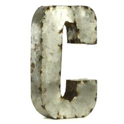 "Industrial Rustic Metal Small Letter C 18""H 