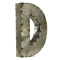 "Industrial Rustic Metal Small Letter D 18""H 