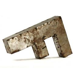 "Industrial Rustic Metal Small Letter F 18""H 