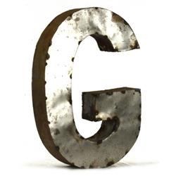 Industrial Rustic Metal Small Letter G 18 Inch