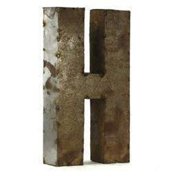 Industrial Rustic Metal Small Letter H 18 Inch