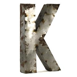 Industrial Rustic Metal Small Letter K 18 Inch