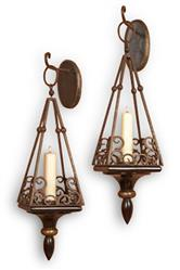 Pair Cap Serrat Wood and Iron Scroll Italianate Sconce