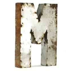 Industrial Rustic Metal Small Letter M 18 Inch