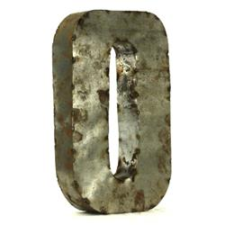 Industrial Rustic Metal Small Letter O 18 Inch