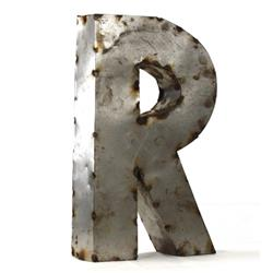 Industrial Rustic Metal Small Letter R 18 Inch