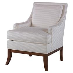 Cassandra Modern Classic Pale Off White Stripe Feather Down Accent Chair