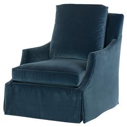 Highland House Fielding Modern Blue Velvet Feather Down Swivel Accent Chair