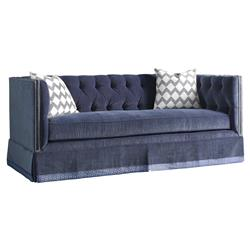 Highland House Burton Regency Blue Feather Down Nailhead Trim Tufted Sofa
