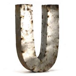 Industrial Rustic Metal Small Letter U 18 Inch