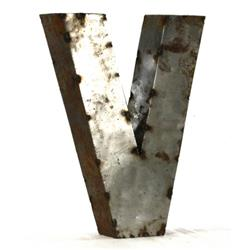 Industrial Rustic Metal Small Letter V 18 Inch