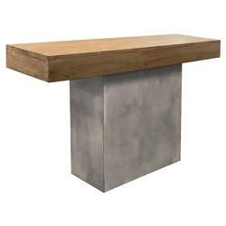 Cooper Modern Rectangular Teak Top Grey Concrete Base Outdoor Console Table