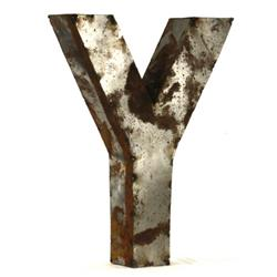 Industrial Rustic Metal Small Letter Y 18 Inch