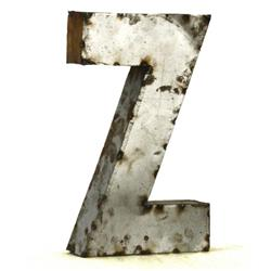 Industrial Rustic Metal Small Letter Z 18 Inch