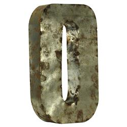 18 Inch Industrial Rustic Metal Small Number 0