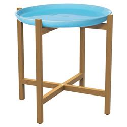 Kate Modern Round Blue Ceramic Top Teak Outdoor Side End Table