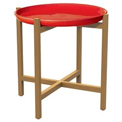 Kate Modern Round Red Ceramic Top Teak Outdoor Side End Table