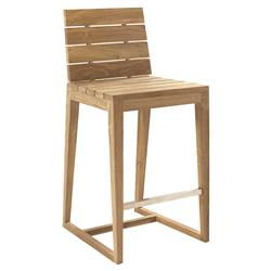 Ian Modern Reclaimed Teak Outdoor Bar Stool
