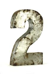 "18"" Tall Industrial Rustic Metal Small Number 2 