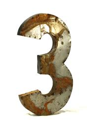 36 Inch Industrial Rustic Metal Large Number 3