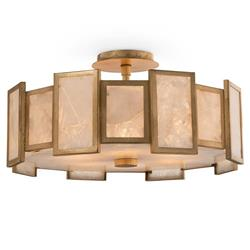 John Richard Modern Classic Round Calcite Panel 6 Light Semi-Flush Pendant