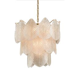 John Richard Modern Classic Three Layer Frosted Glass Nine Light Chandelier