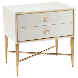 John-Richard Modern Classic Ornamento White Gold Frame 2 Drawer Nightstand