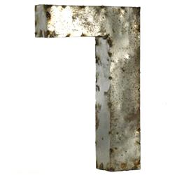 "18"" Tall Industrial Rustic Metal Small Number 7 
