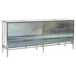John Richard Modern Classic Slated Abstract Art Steel Base Four Door Credenza