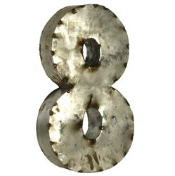 18 Inch Industrial Rustic Metal Small Number 8