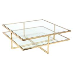 John Richard Modern Classic Polished Brass Glass Gold Frame Cocktail Table