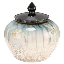 John Richard Modern Classic White Smalt Blue Glazed Porcelain Lidded Jar