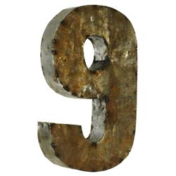 18 Inch Industrial Rustic Metal Small Number 9