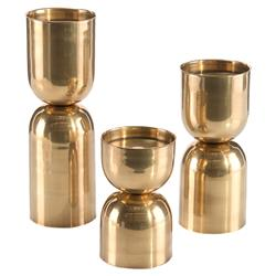 John Richard Modern Classic Antique Brass Candle holders - Set Of 3