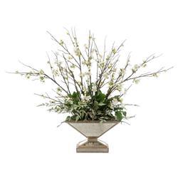 John Richard Modern Classic Blossoms At Sunset Mirror Pedestal Urn Plant Mix