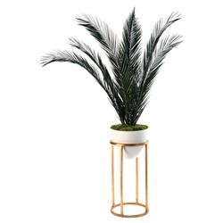 John Richard Modern Classic Mid-Century White Vase Gold Stand Palm