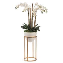 John Richard Modern Classic White Vase Gold Stand Trellis Orchids