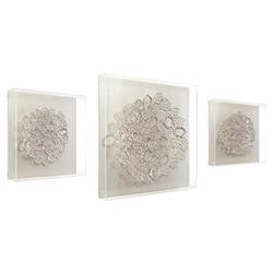 John-Richard Modern Classic Set of Three Silver Lace Pierced Acrylic Tray Box