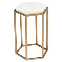 John Richard Modern Classic Marble Hexagonal Cream Top Brass Base Drink Table