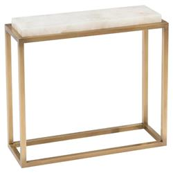 John Richard Modern Classic Calcite Antique Brass Rectangular Side End Table