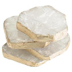 John Richard Modern Classic Set Of 4 Selenite Hand-Applied Gold Trim Coasters