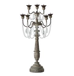 Pair Crystal Sway Distressed Gray French Country Candelabra