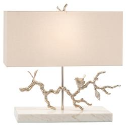 John-Richard Modern Classic Bird On Branch Nickel Marble Base Table Lamp