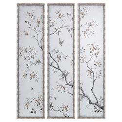 John-Richard Global Bazaar Set Of Three Pesaro Distressed Silver Frame Wall Mirror