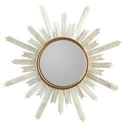 John Richard Modern Classic Selenite Starburst Gold Frame Mirror - 47.5D