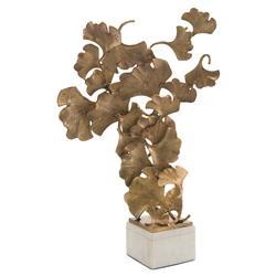 John-Richard Modern Classic Floating Ginkgo Leaves White Marble Base Sculpture