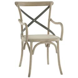 Pair Kasson French Country Paris Cafe Wood Metal Dining Arm Chair