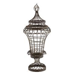 Pair French Cottage Country Wire Leaf Urn with Flame Top- Small | AG-566GR