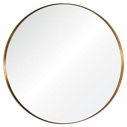 Uma Hollywood Regency Antiqued Light Bronze Steel Round Mirror